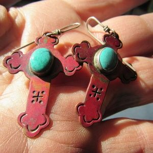 Vintage Copper and Turquoise Cross Earrings